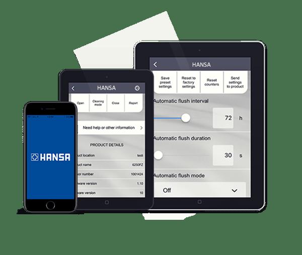 Většinu našich chytrých vodovodních baterií je možno ovládat z aplikace HANSA, která uživatelům umožňuje upravovat průtok, dobu dotoku, citlivost senzoru atd.