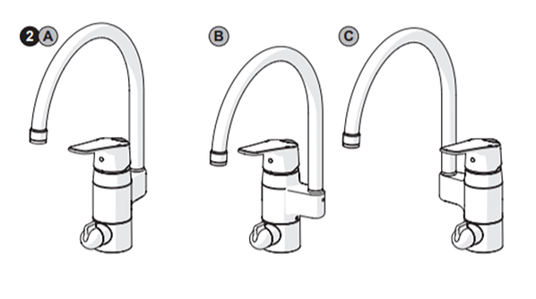 HANSA has models that make it possible to place the spout position either on the back or to the left or right of the faucet.