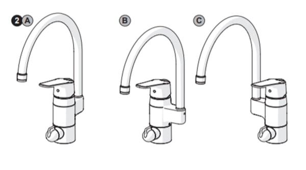 HANSAbietet Modelle an, bei denen der Auslauf entweder an der Rückseite, an der linken oder rechten Seite der Armatur angebracht werden kann.