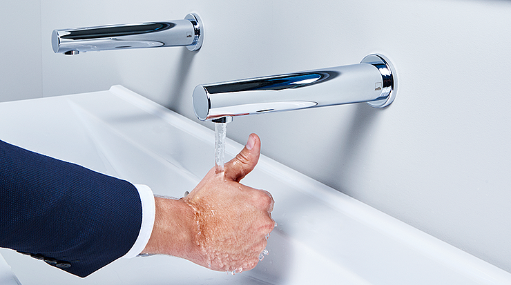 Touchless faucets are a great way to save water in public buildings