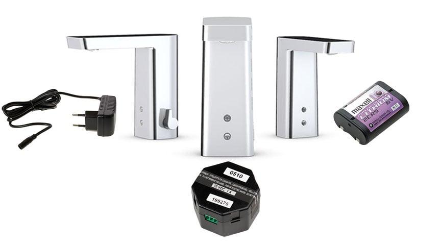 Es gibt verschiedene Optionen der Stromversorgung bei berührungslosen Armaturen: Stecktransformator (links), Nabentransformator (Mitte) und Batterie (rechts)
