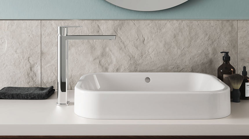 With free-standing vessel sinks, a faucet model with a higher body is a good match.
