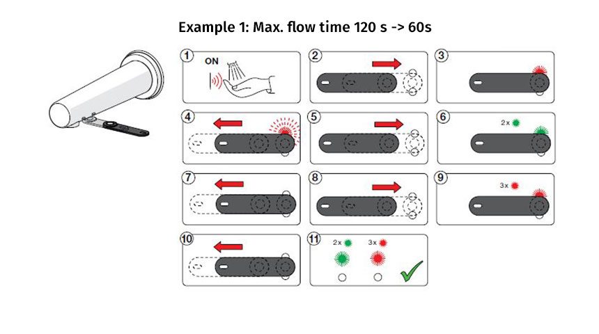 How to change touchless faucet's maximum flow time from 120 seconds to 60 seconds.