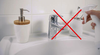 Apply the cleaner on a soft cloth – do not spray the cleaning agent directly onto the faucet surface