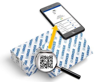 Etiquette HANSA avec QR code pour un accès rapide au site MPI