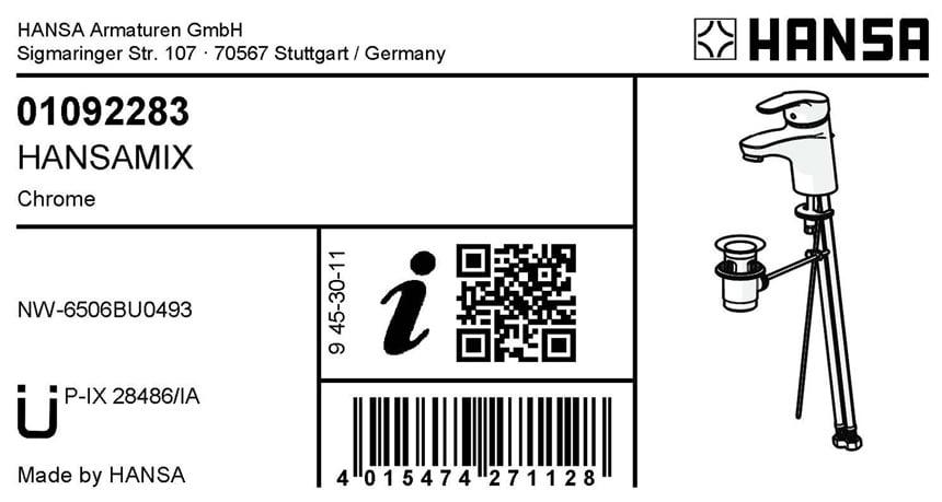 Maximaler Service: Über einen QR-Code auf dem Etikett des Produkts sind mobile Produktinformationen zugänglich. Hier: das Label der HANSAMIX. Foto: Hansa Armaturen GmbH