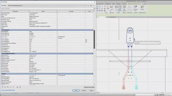 Each BIM-object offers necessary information about the product itself