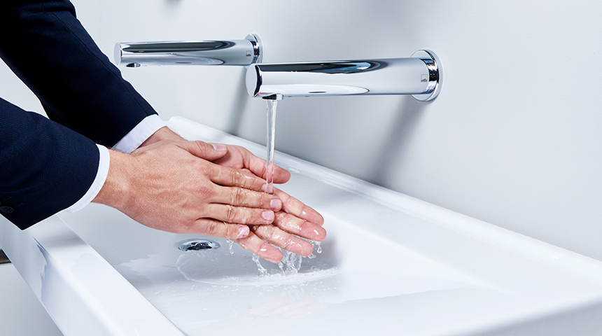 HANSAELECTRA touchless spout faucet now available with Bluetooth® connection